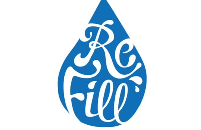 refill logo in a water drop