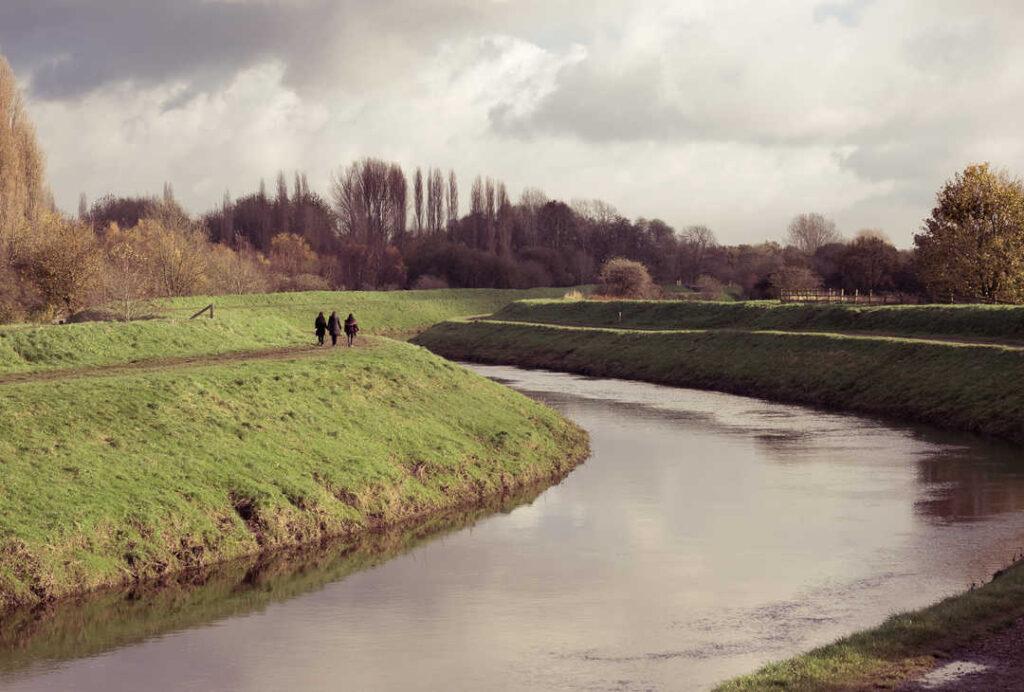 Green space alongside river
