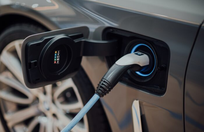 Charging point on electric car