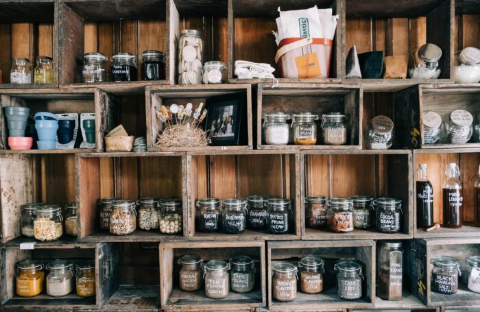 Food supplies in glass jars