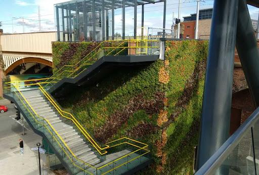 Green living wall at train station