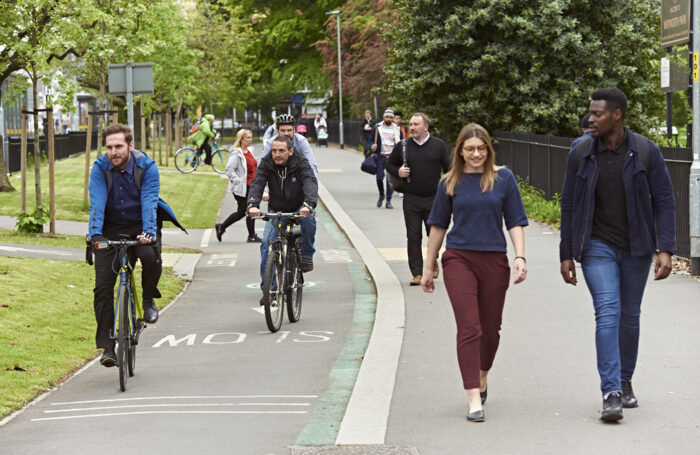 Photograph of people walking and cycling in Greater Manchester